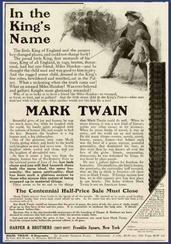 1917 AD FOR CENTENNIAL HALF-PRICE SALE OF MARK TWAIN Original Paper Ephemera Authentic Vintage Print Magazine Ad / Article