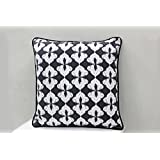 AURAVE Black & Grey Ikat Design Premium Cotton Cushion Cover - Set Of Two - 12 Inch X 12 Inch