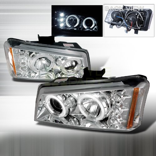 2003-2006 Chevy Avalanche, 2003-2006 Chevy Silverado Halo Led Projector Headlights Chrome