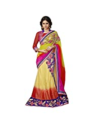 Captivating Yellow Colored Beads Worked Net Lehenga Saree By Triveni