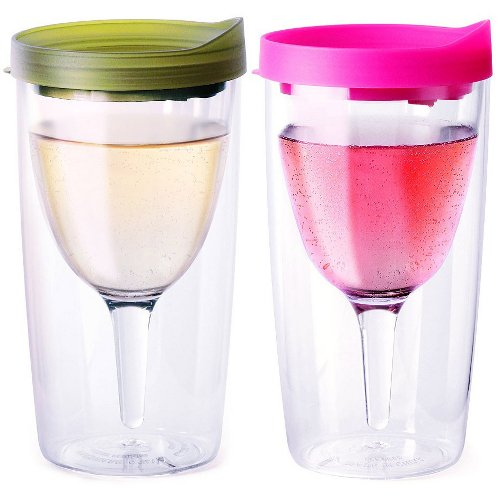 Vino2Go Verde and Pink 10 Ounce Insulated Wine Tumbler Set With Drink-Through Lid, Set of 2