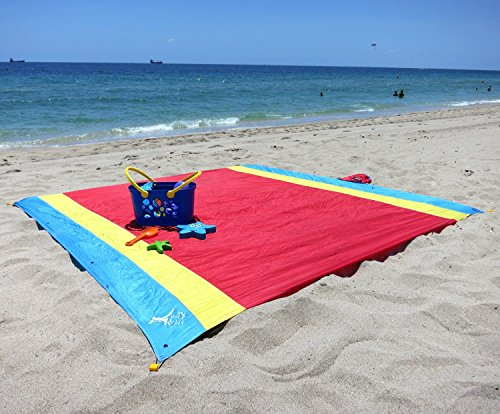Just Relax Parachute Nylon Multipurpose Travel Sheet, Great for Beach, Picnics, Concerts, Backyards, Tanning, Camping , 7x7 Feet (Red-Yellow-Blue)