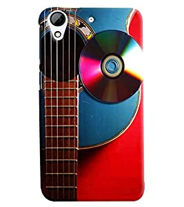Blue Throat Guitar With Cd Hard Plastic Printed Back Cover/Case For HTC Desire 728