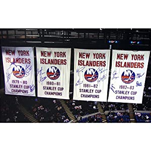 Buy NY Islanders Stanley Cup Banners In the Rafters 14 Signature 20x32 Photograph by Steiner Sports