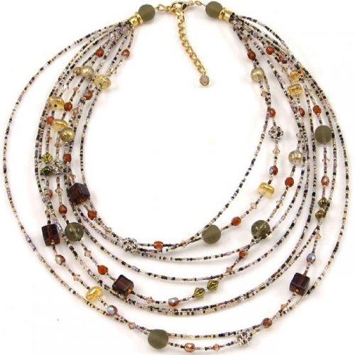 Ines Bijoux CO096 Cascade Necklace - Amber