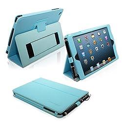 Snugg iPad Mini & Mini 2 Case - Smart Cover with Flip Stand & Lifetime Guarantee (Baby Blue Leather) for Apple iPad Mini & Mini 2 with Retina
