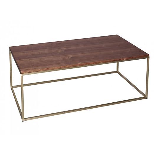 Gillmore Space Nogal y oro Metal contemporáneo mesa de centro Rectangular