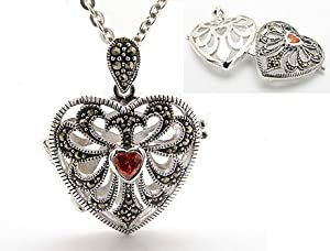 "Genuine Marcasite and Garnet Sterling Silver Aromatherapy Scent Locket Heart Pendant with 20"" Cable Chain Necklace"