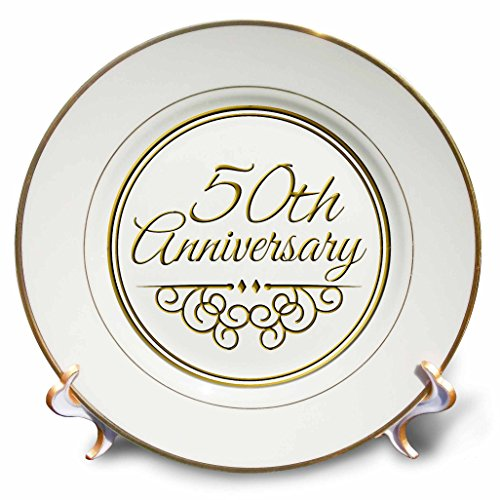3dRose cp_154492_1 50th Anniversary Gift Gold Text for Celebrating Wedding Anniversaries 50 Years Married Together Porcelain Plate, 8-Inch