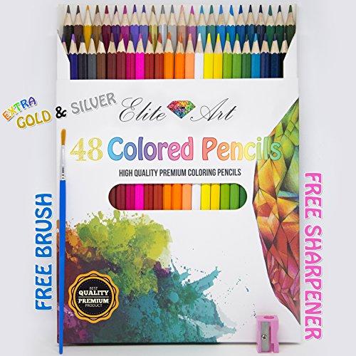 48-Colored-Pencils-Pens-for-Drawing-Sketching-Adult-Coloring-Book-Watercolor-Bonus-Sharpener-and-Brush-Best-Art-Color-Pens-with-Bonus-Coloring-Ebooks-Premium-Quality-Anti-Stress-Great-Gift