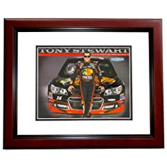Tony Stewart Autographed Hand Signed Racing 8x10 Photo - MAHOGANY CUSTOM FRAME by Real Deal Memorabilia