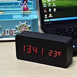 uxcell Wooden Home Desktop Office Rectangle Shape Digital LED Clocks Alarm Clock Displaying Time Date Temperature Voice Control ( Red )
