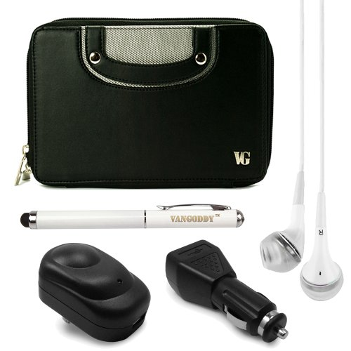 """Executive Faux Leather Horizontal Case W/ Handle For Hp Mesquite 7"""" Tablet + Usb Wall & Car Charger + Vg Laser Pen & Laser + White Vangoddy Headphones (Black)"""