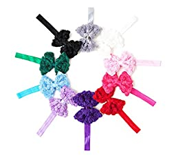 Ema Jane - Rosette Laced Bows with Satin Shimmery Ribbon Wrap Around Center (10 Pack)