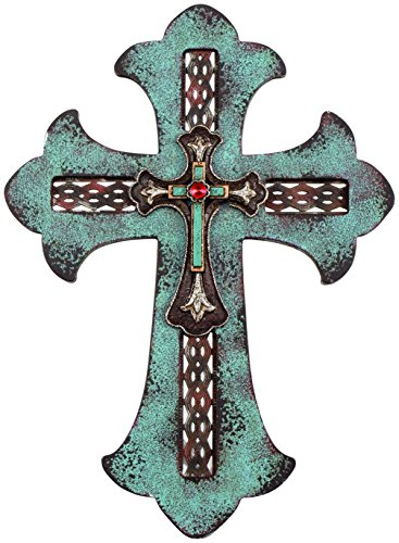 Carson Home Accents Wall Cross, 14 Inch Turquiose Layered