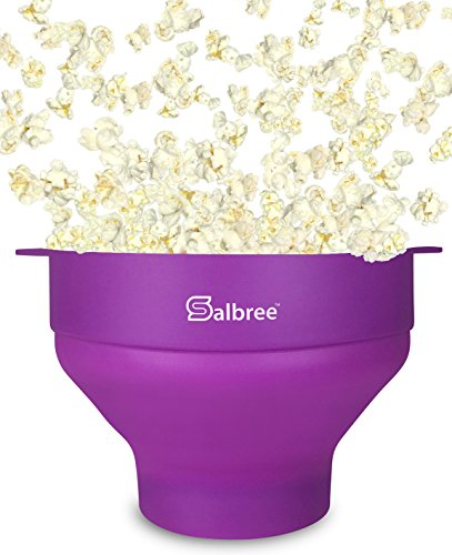 Salbree Microwave Popcorn Popper, Silicone Popcorn Maker, Collapsible Bowl - Purple (Self Contained Popcorn Popper compare prices)
