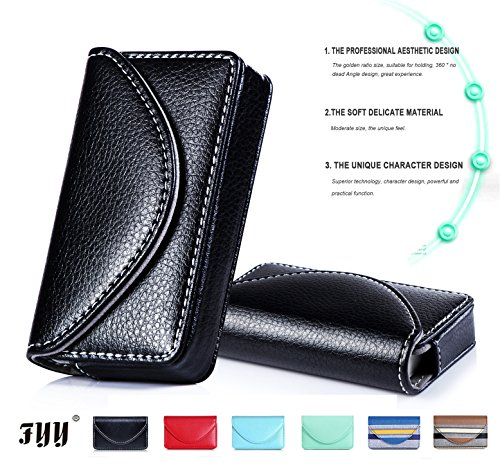 FYY 100% Handmade Premium Leather Business Name Card Case Universal Card Holder with Magnetic Closure (Hold 30 pics of cards) Black
