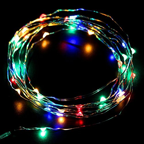 Eastchina® Newest Version 3M/10Ft 4.5V Micro Led 30 Super Bright Leds Mini Silver Wire Fairy Light String Aa Battery Operated, Ultra Thin String Wire Potted Plants Led Lights Strings For Valentine'S Day Christmas Party Decoration Wedding Birthday Festival