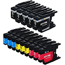 E-Z Ink (TM) Compatible Ink Cartridge Replacement for Brother LC-75 XL High Yield (5 Black 3 Cyan 3 Magenta 3 Yellow) 14 Pack Compatible With MFC-J6510DW MFC-J6710DW MFC-J6910DW MFC-J280W MFC-J425W MFC-J430w MFC-J435W MFC-J5910DW MFC-J625DW MFC-J825DW MFC-J835DW Printer