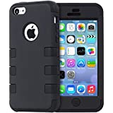 iPhone 5C Case, Osurce Full Protection Heavy Duty Hybrid Soft Silicone Rugged Armor Hard Inner Case Cover for Apple iPhone 5C - Shock Absorbing - Black