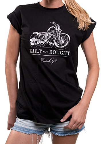 motorrad shirt f r damen mit spruch built not bought motorradbekleidung g nstig gro e gr en s. Black Bedroom Furniture Sets. Home Design Ideas