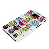 DeinPhone Small Coloured Owls Hardcase Cover Bumper for Samsung Galaxy S2 i9100 S2 PLUS i9105 S II - Blue