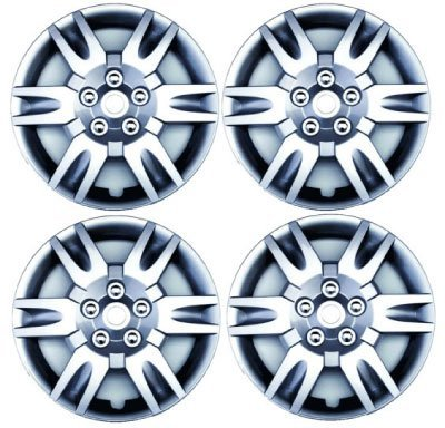 Set Of Four 16 Inch 2002, 2003, 2004, 2005, 2006, 2007, 2008, 2009 Nissan Altima Hubcaps Wheel Covers With A Silver Finish