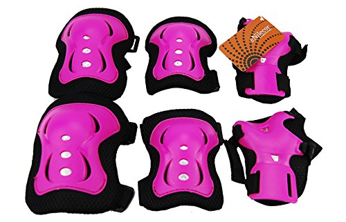 eNilecor Kid's Inline Skating Roller Blading Wrist Elbow Knee Pads Blades Guard Gift for Children's Day, Christmas Pack of 6 (Hot Pink) (Kids Knee Pads And Elbow Pads compare prices)