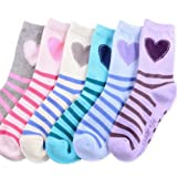 Naartjie Girls Stripes and Heart Fashion Cotton Short Crew Socks 6 Pairs Pack