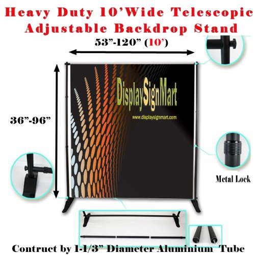 Dsm ˜ 10' X 8' Heavy Duty Telescopic Banner Stand Step And Repeat Adjustable Backdrop Wall Exhibitor Expanding Display Photographic Background Trade Show Photographic Back Ground / Backdrop