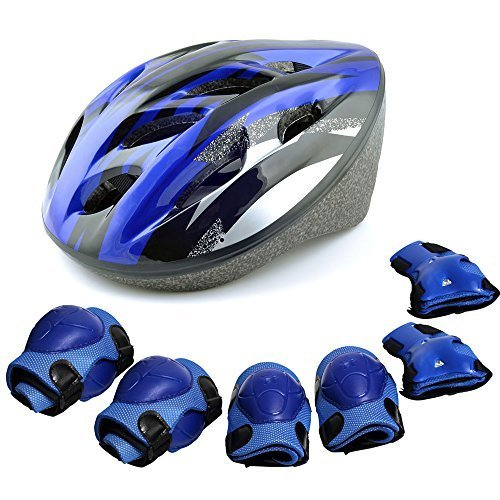 Jumphigh Multi-Sport Safeguard Helmet Kneepad Elbow Wrist Equipment Set For Pogo Sticks Roller bicycle bike skateboard extreme sports (Blue)