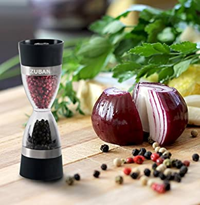 [NEW ARRIVAL] Zubana Professional Grade Lightweight Manual Adjustable 2-in-1 Salt / Pepper / Spice Mill Grinder Shaker with a sleek hourglass design