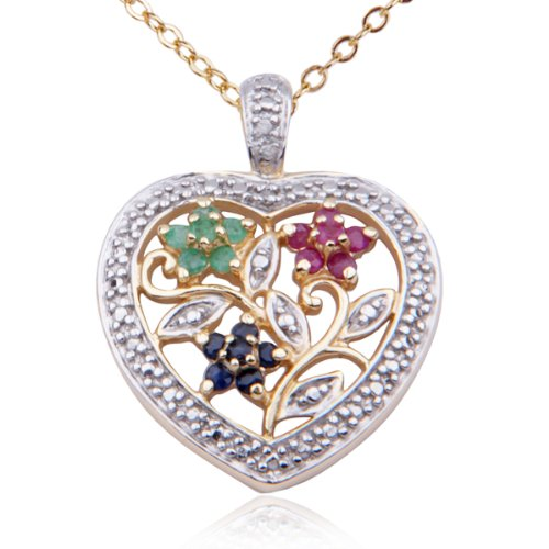 18k Yellow Gold Plated Sterling Silver Genuine Multi-Gemstone Flower Heart Pendant, 18""