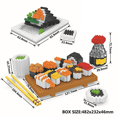 Mini Figures Building Bricks Toys,Micro Japanese Sushi Food Diamond Nano Blocks,Best Diy Creator Educational Playset For Boys/Girls/Adults(Non-Lego)