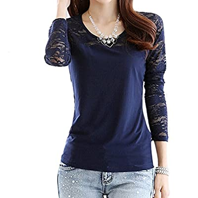 Lady Slim Lace Stitching Shirt Long-sleeved Cotton Blouse Tops
