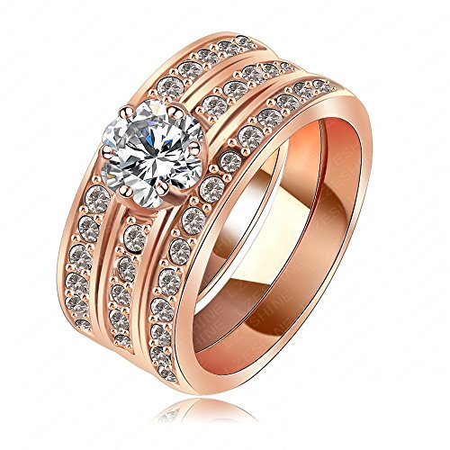 K-Design Amazing Women'S Engagement Knukle Rings Real 18K Rose Gold/Platinum Plate 3 Layer Fashionable Wide Crystal Ring Ri-Hq1061 6.0