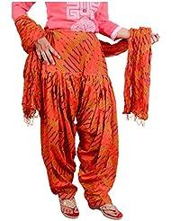 Bottomline Women Printed Solid Cotton Full Orange Patiala Salwar Dupatta Set(Free Size,Multi Color)