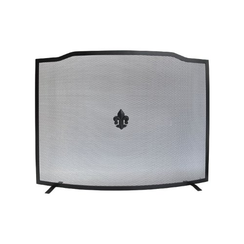 Parascintille per camino curvo Maurer colore nero opaco 80 cm x h 62 cm