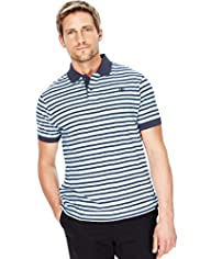 "2"" Longer Blue Harbour Pure Cotton Fine Striped Polo Shirt"