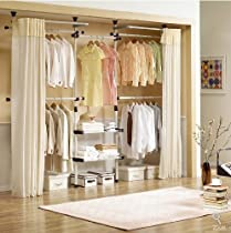 Hot Sale Deluxe 4 Tier & Shelf Hanger with Curtain | Clothing Rack | Closet Organizer