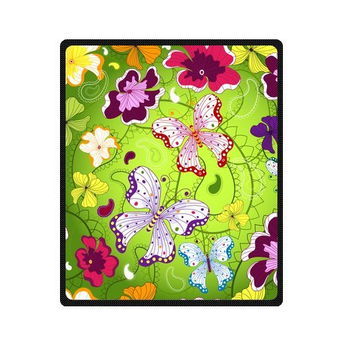 Personalized Fashion Green Seamless Floral Pattern With Butterflies Picture Fleece Blanket 50 X 60 back-939238