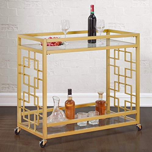 Retro Gold Tone Bar Cart Metal Serving Tray Table Coffee 2-Shelf Glass Kitchen Sofa Side Hall Entry 0