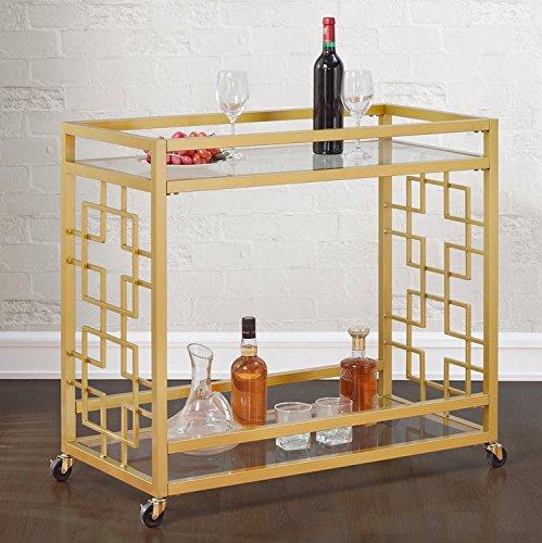 Retro Gold Tone Bar Cart Metal Serving Tray Table Coffee 2-Shelf Glass Kitchen Sofa Side Hall Entry 0