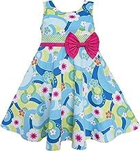 Sunny Fashion Girls Dress Ocean Blue Flower Birthday Party
