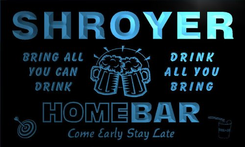 q41281-b SHROYER Family Name Home Bar Beer Mug Cheers Neon Light Sign