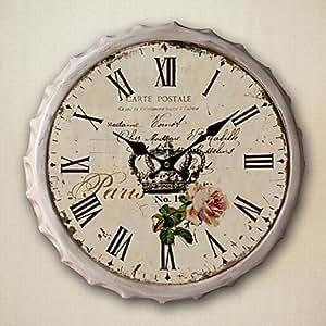 13 5 h stile country metallo orologio da parete floreale - Orologi da parete stile country ...