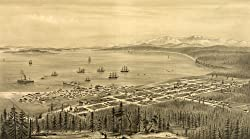 Port Townsend, Washington, and Puget Sound - 1878 Aerial View - 16x20-inch - Fine-Art-Quality Photographic Print of an Image from the Library of Congress Collection