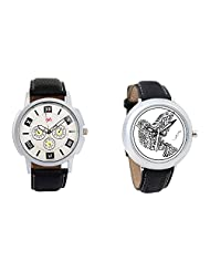 Gledati Men's White Dial And Foster's Women's White Dial Analog Watch Combo_ADCOMB0001756
