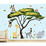 African Tree, Safari Pride Jungle Tree Wall Decals, Jungle Stickers with Green Leaves