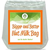 """Pro Quality Nut Milk Bag - Big 12""""X12"""" Commercial Grade - Reusable Almond Milk Bag & All Purpose Food Strainer - Fine Mesh Nylon Cheesecloth & Cold Brew Coffee Filter - Free Recipes & Videos"""